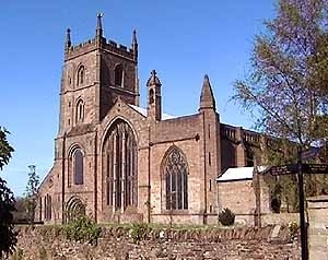 The 11th century Priory Church which is renowned for having three naves