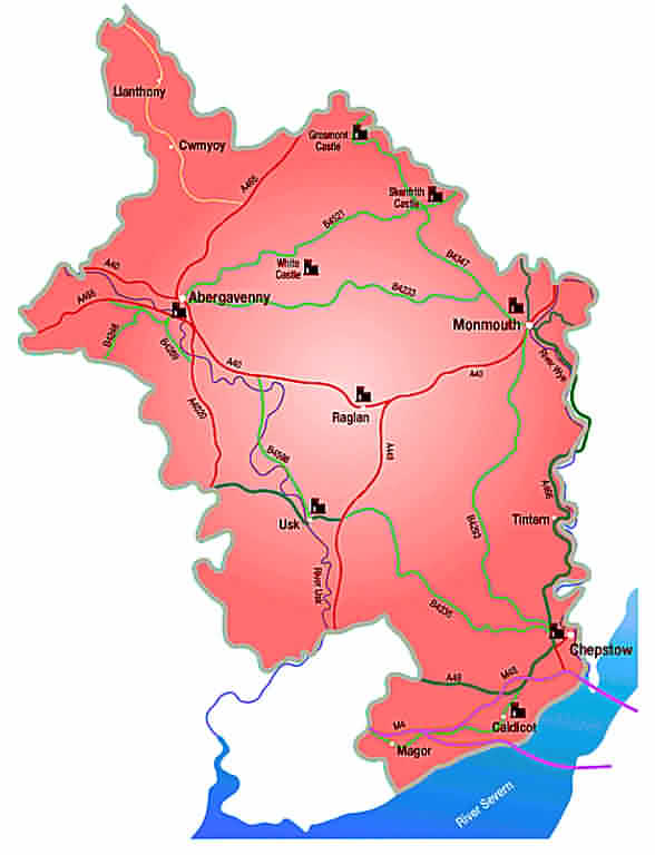Monmouthshire Interactive Map - Click on a town for further information